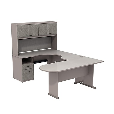 Bush Cubix U-Desk with Expandable Corner Desk, Bridge & Peninsula Desk, Pewter/White Spectrum