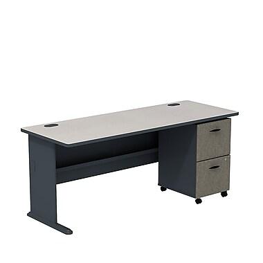 Bush – Ensemble bureau de 72 po et classeur sur roulettes à 3 tiroirs, collection Cubix, fini ardoise/spectre blanc