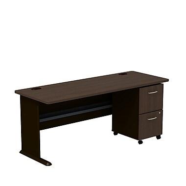 BushMD – Ensemble bureau 72 po et classeur sur roulettes à 3 tiroirs, collection Cubix, cerisier cappuccino/noisette