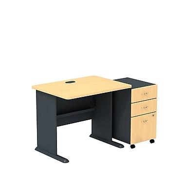BushMD – Ensemble bureau 36 po et classeur sur roulettes à 3 tiroirs, collection Cubix, fini hêtre/gris ardoise