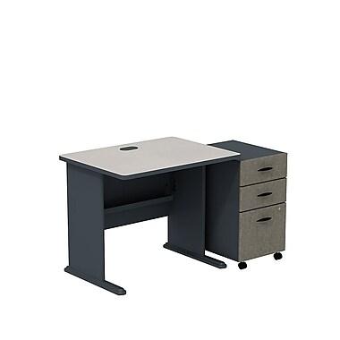 Bush – Ensemble bureau de 36 po et classeur sur roulettes à 3 tiroirs, collection Cubix, fini gris ardoise/spectre blanc