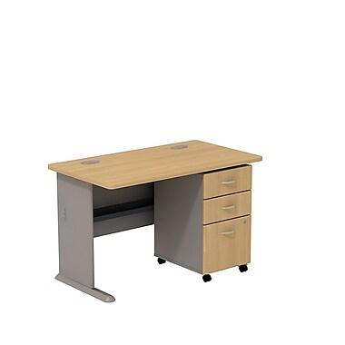 Bush – Bureau de 48 po de largeur et classeur sur roulettes à 3 tiroirs de la collection Cubix, fini chêne clair/sauge