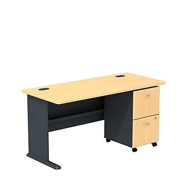 BushMD – Ensemble bureau 60 po et classeur sur roulettes à 2 tiroirs, collection Cubix, fini hêtre/gris ardoise