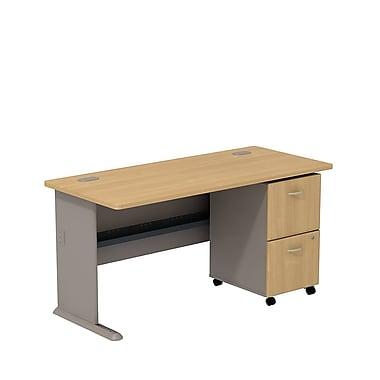 Bush – Bureau de 60 po de largeur et classeur sur roulettes à 2 tiroirs, collection Cubix, fini chêne clair/sauge