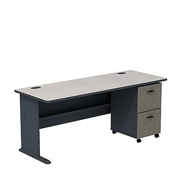 Bush – Ensemble bureau de 72 po et classeur sur roulettes à 2 tiroirs, collection Cubix, fini ardoise/spectre blanc