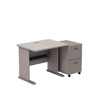 BushMD – Ensemble bureau 36 po et classeur sur roulettes à 2 tiroirs, collection Cubix, fini étain/spectre blanc