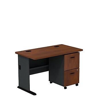 BushMD – Ensemble bureau 48 po et classeur sur roulettes à 2 tiroirs, collection Cubix, fini cerisier Hansen/galaxie