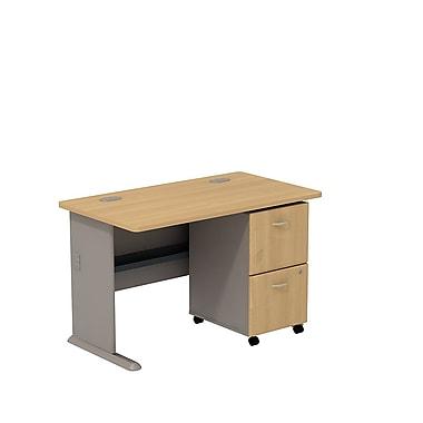 Bush – Bureau de 48 po de largeur et classeur sur roulettes à 2 tiroirs, collection Cubix, fini chêne clair/sauge