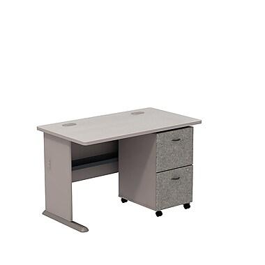 BushMD – Ensemble bureau 48 po et classeur sur roulettes 2 tiroirs, collection Cubix, fini étain/spectre blanc