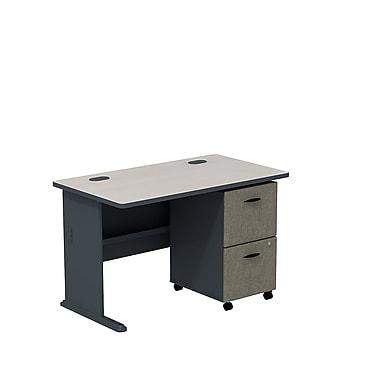 BushMD – Ensemble bureau 48 po et classeur sur roulettes 2 tiroirs, collection Cubix, fini gris ardoise/spectre blanc