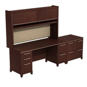 Bush Enterprise Double Pedestal Desk with Hutch and Lateral File , Harvest Cherry