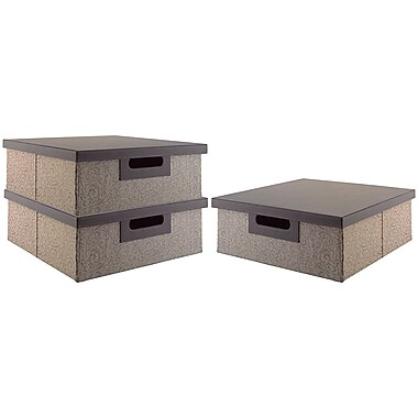 kathy ireland® Office by Bush Furniture Media Storage Bin Collection (3 bins), Brocade Swirl - Charcoal and Grey (SON002AK)