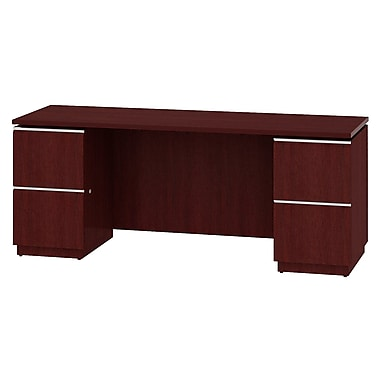 Bush Business Furniture Milano2 72W x 24D Double Pedestal Kneespace Credenza, Harvest Cherry (50C72CSK)