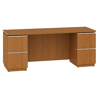 Bush Business Furniture Milano2 72W x 24D Double Pedestal Kneespace Credenza, Golden Anigre (50C72GAK)