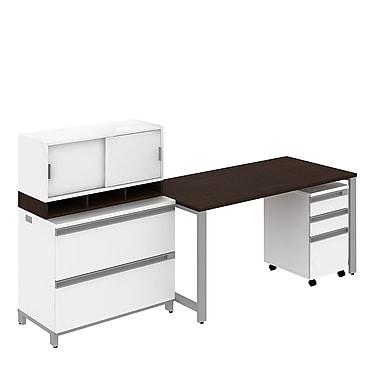 Table autoportante de 60 po de large de la collection Momentum de Bush et caisson sur roulettes à 3 tiroirs, moka/cerisier
