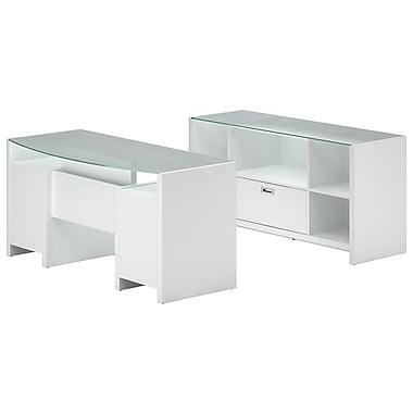 kathy Ireland by Bush NYS Bowfront Desk with Credenza Office Suite, Plumeria White