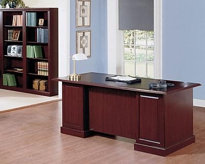 Bush Business Furniture Saratoga Collection Managers Desk with 5 Shelf Bookcase, Harvest Cherry/Black (SAR003CS)