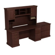 "Bush Syndicate Double Pedestal Desk with Hutch and Lateral File, 72.01"" x 104.06"" x 21.95"", Harvest Cherry"