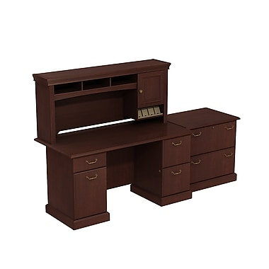 Bush Syndicate Double Pedestal Desk with Hutch and Lateral File, Harvest Cherry