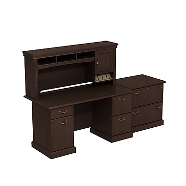 Bush Syndicate Double Pedestal Desk with Hutch and Lateral File, Mocha Cherry