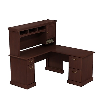 Bush Business Syndicate 60W x 60D L-Desk with Hutch, Harvest Cherry
