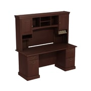 "Bush Syndicate Double Pedestal Desk with Hutch, 72.01"" x 72.24"" x 21.93"", Harvest Cherry"