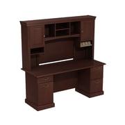 "Bush Syndicate Double Pedestal Desk with Hutch, 72.01"" x 72.24"" x 21.93"", Harvest Cherry"