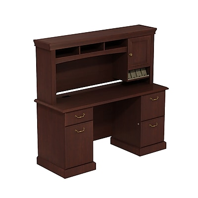 Bush Business Syndicate 60W x 22D Double Pedestal Desk with Hutch, Harvest Cherry