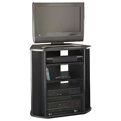 Bush Furniture Visions Tall Corner TV Stand, Black (MY37927-03)