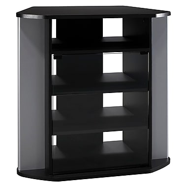 Bush Furniture Visions Tall Corner TV Stand, Black/Metallic Silver (VS97227A-03)
