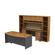 Bush Business Westfield 72W Bowfront Desk with 72W Credenza, Hutch & (2) Bookcases, Natural Cherry/Graphite Gray
