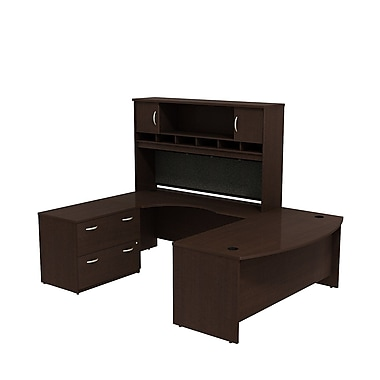 Bush Business Westfield 72W Bowfront LH U-Station with 2-Door Hutch and Lateral File, Mocha Cherry