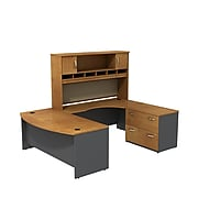Bush Business Furniture Westfield 72W Right Handed Bow Front U Shaped Desk with Hutch and Storage, Natural Cherry (SRC005NCRSU)
