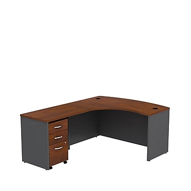 Bush Business Westfield 60W LH L-Bow Desk Shell with 3-Drawer Mobile Pedestal, Hansen Cherry/Graphite Gray