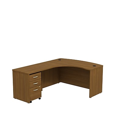 Bush – Bureau en L à gauche de 60 po de la collection Westfield avec caisson mobile à 3 tiroirs, chêne café