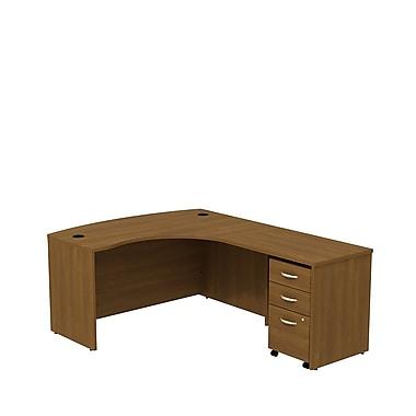 Bush Business Westfield 60W RH L-Bow Desk Shell with 3-Drawer Mobile Pedestal, Cafe Oak