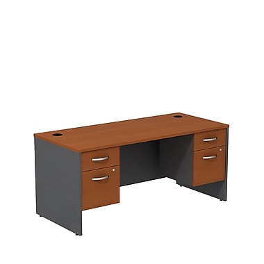 Bush – Ensemble de bureau de 66 po avec caissons 3/4, de la collection Wetsfield, cerisier d'automne/gris graphite