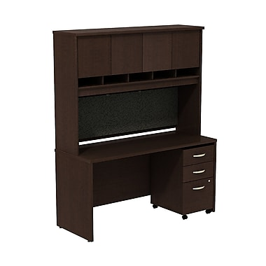 Bush Business Westfield 60W Desk/Credenza Shell with Hutch and 3-Dwr Mobile Pedestal, Mocha Cherry