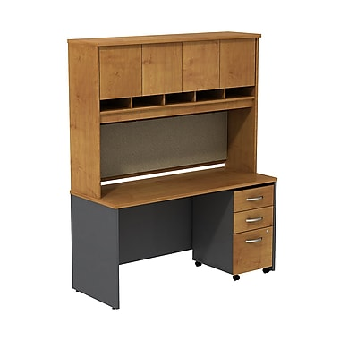 Bush Business Westfield 60W Desk/Credenza Shell with Hutch and 3-Dwr Mobile Pedestal, Natural Cherry/Graphite Gray