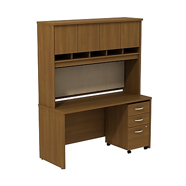 Bush Business Westfield 60W Desk/Credenza Shell with Hutch and 3-Dwr Mobile Pedestal, Cafe Oak
