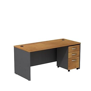 Bush – Coquille de bureau de 66 po Westfield et classeur sur roulettes à 3 tiroirs, fini cerisier naturel et gris graphite