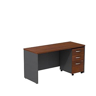 Bush – Coquille de bureau de 60 po de largeur Westfield et classeur sur roulettes à 3 tiroirs, cerisier Hansen et gris graphite
