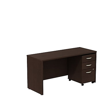Bush Business Westfield 60W Desk/Credenza Shell with 3-Drawer Mobile Pedestal, Mocha Cherry