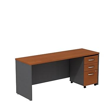 Bush – Crédence de bureau de 72 po de largeur Westfield avec caisson mobile à 3 tiroirs, cerisier d'automne/gris graphite