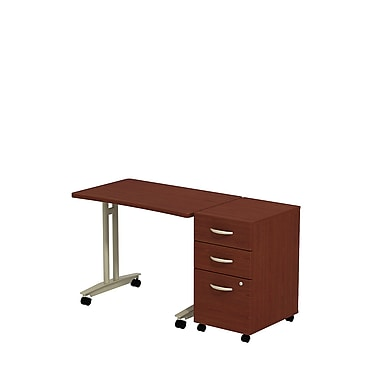 Bush Westfield Adjustable Height Mobile Table with 3-Drawer Mobile Pedestal, Cherry Mahogany
