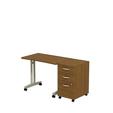Bush - Table mobile à hauteur ajustable avec caisson mobile à 3 tiroirs de la collection Westfield, chêne café