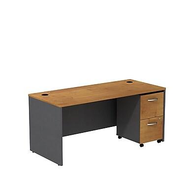Bush – Coquille de bureau de 66 po de largeur Westfield et classeur sur roulettes à 2 tiroirs, cerisier naturel et gris graphite