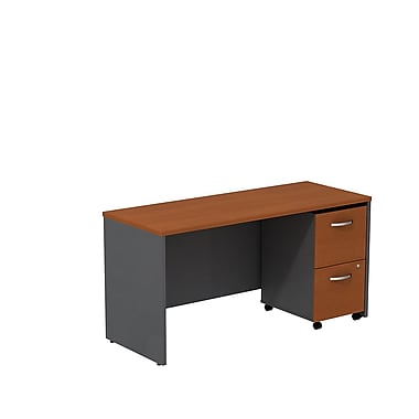 Bush – Crédence de bureau de 60 po de largeur Westfield avec caisson mobile à 2 tiroirs, cerisier d'automne/gris graphite