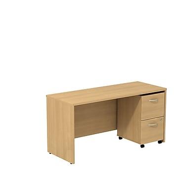 Bush – Bahut/bureau de 60 po de largeur Westfield avec caisson mobile à 2 tiroirs, chêne danois