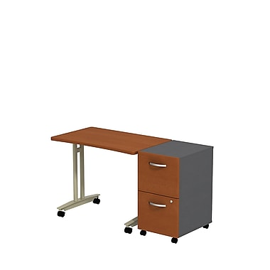 Bush Westfield Adjustable Height Mobile Table with Mobile Pedestal, Autumn Cherry/Graphite Gray